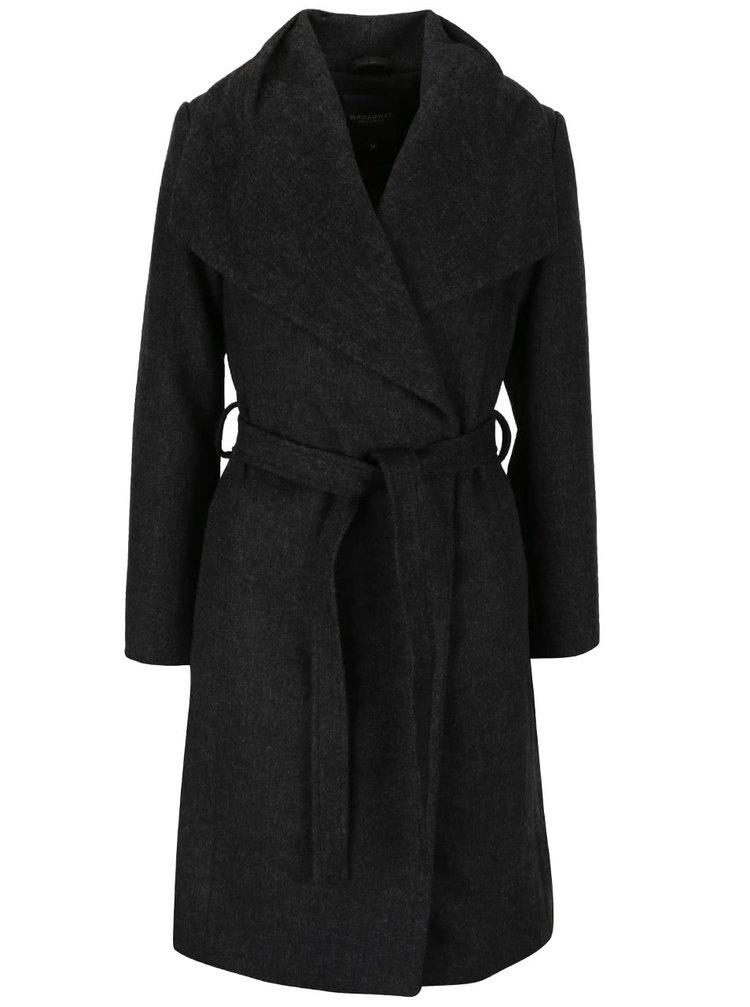 Tmavě šedý dámský kabát s páskem Broadway Remi