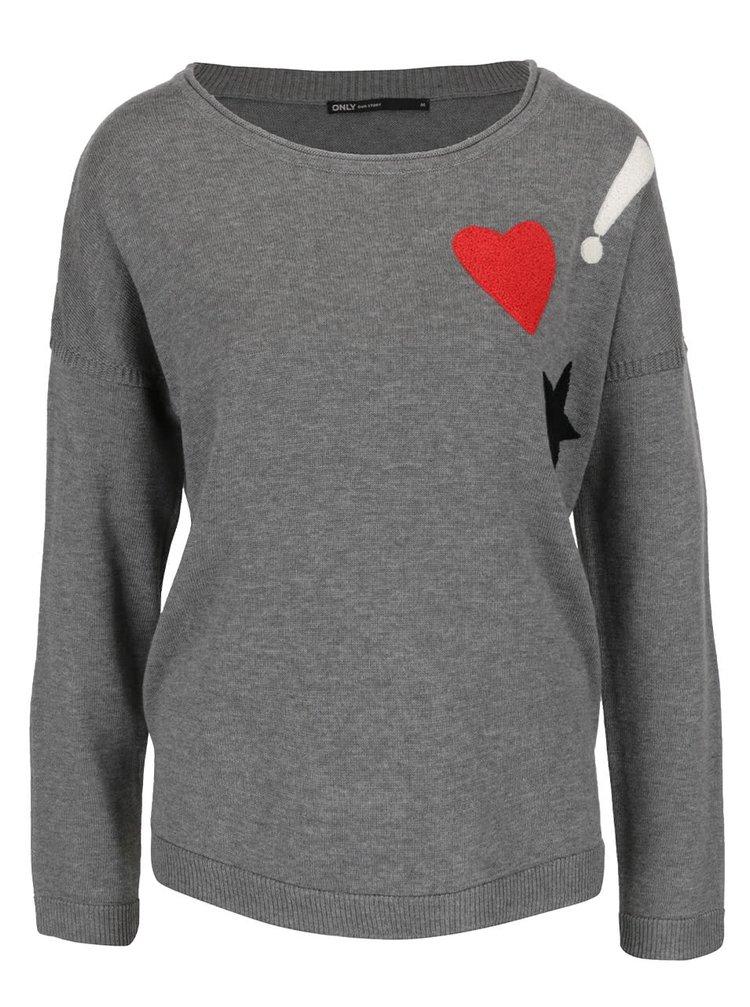 Sivý sveter s farebnými nášivkami ONLY Kenji