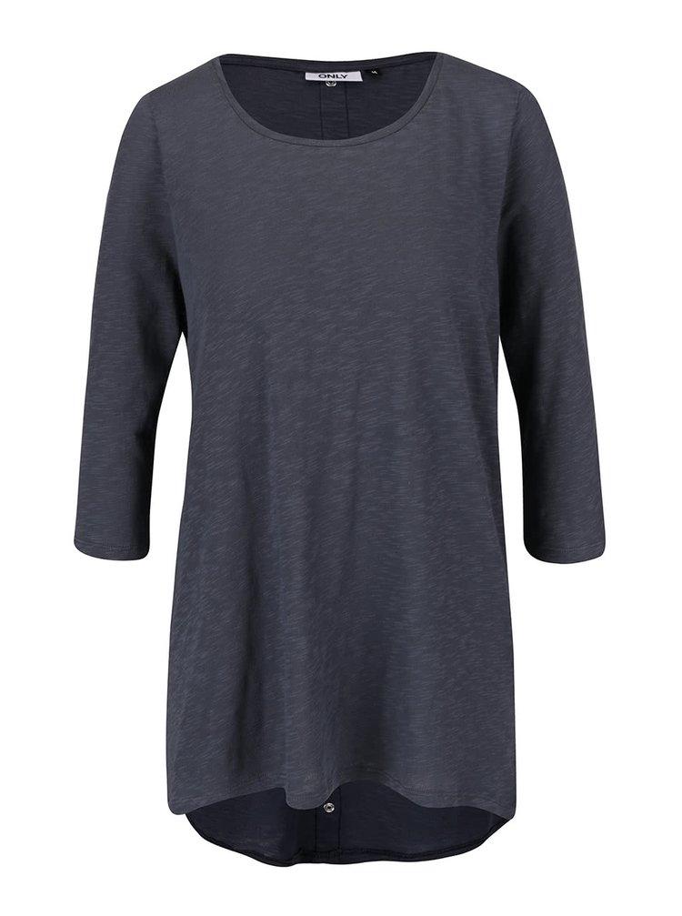Bluza albastra ONLY Casa din bumbac cu tiv asimetric si model discret