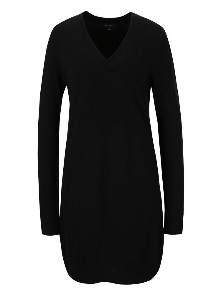 Černé svetrové šaty s véčkovým výstřihem Broadway Ronna