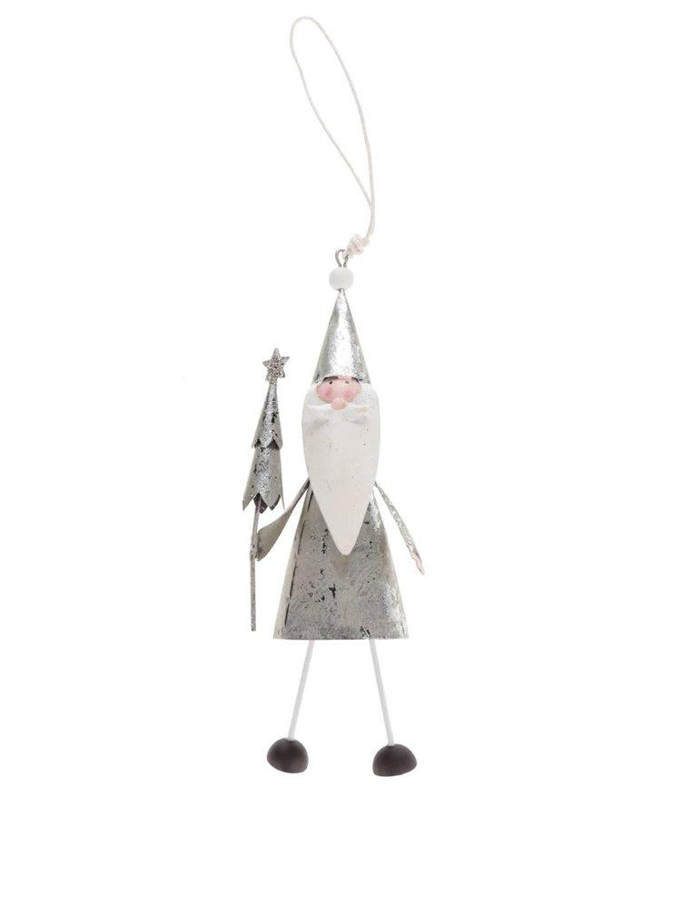 Vánoční ozdoba se Santou ve stříbrné barvě CGB