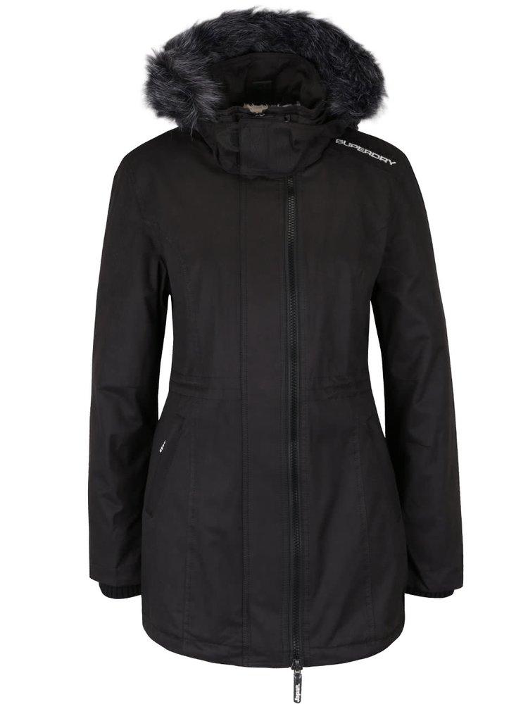 Čierna dámska parka s kapucňou a umelým kožúškom Superdry