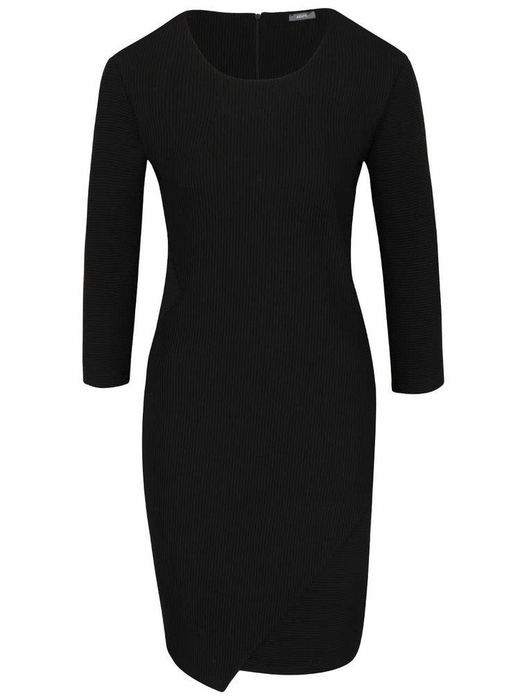 Černé žebrované šaty s 3/4 rukávy ZOOT