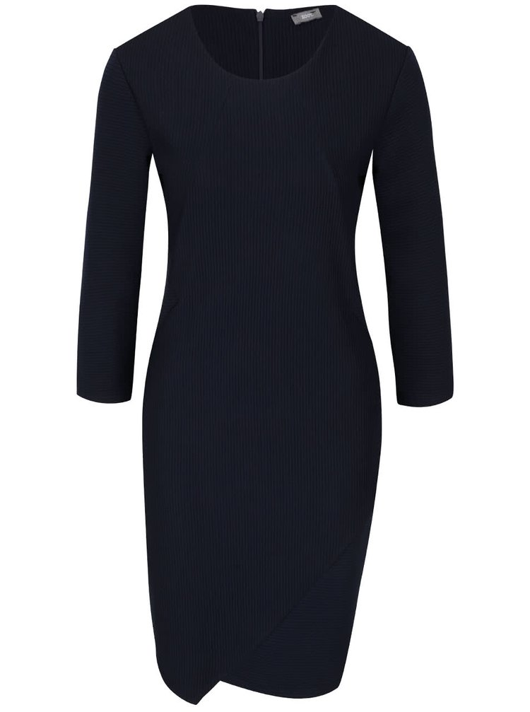 Tmavě modré žebrované šaty s 3/4 rukávy ZOOT