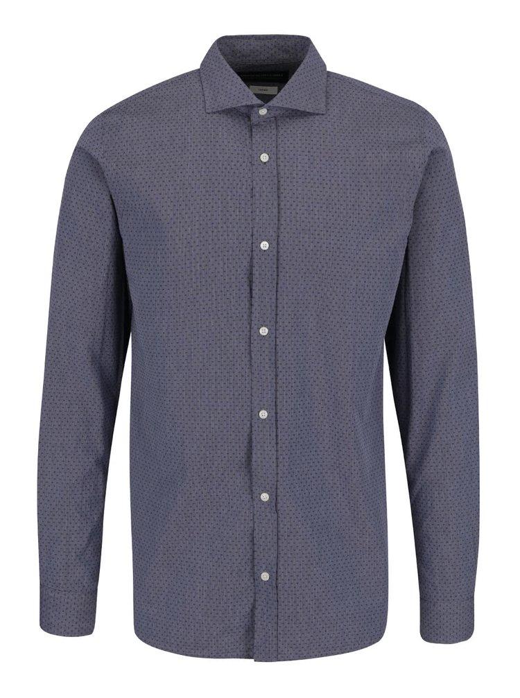 Modro-šedá slim fit košile s jemným vzorem Jack & Jones Ethan