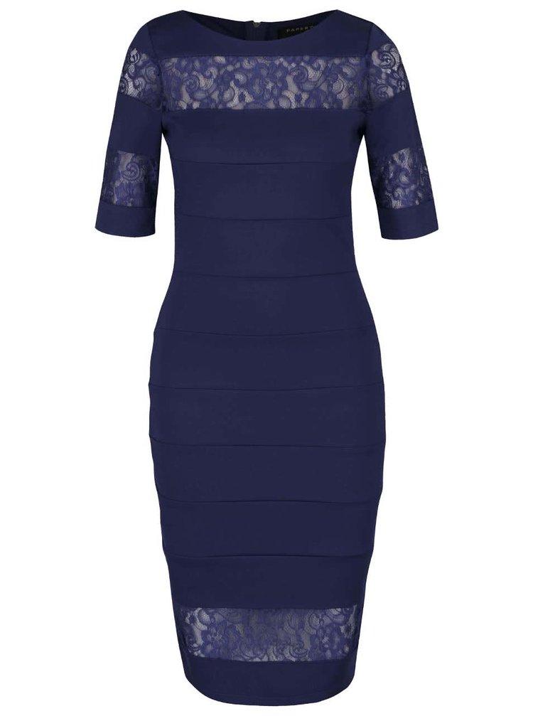 Tmavě modré šaty s průsvitnými krajkovanými pruhy Paper Dolls