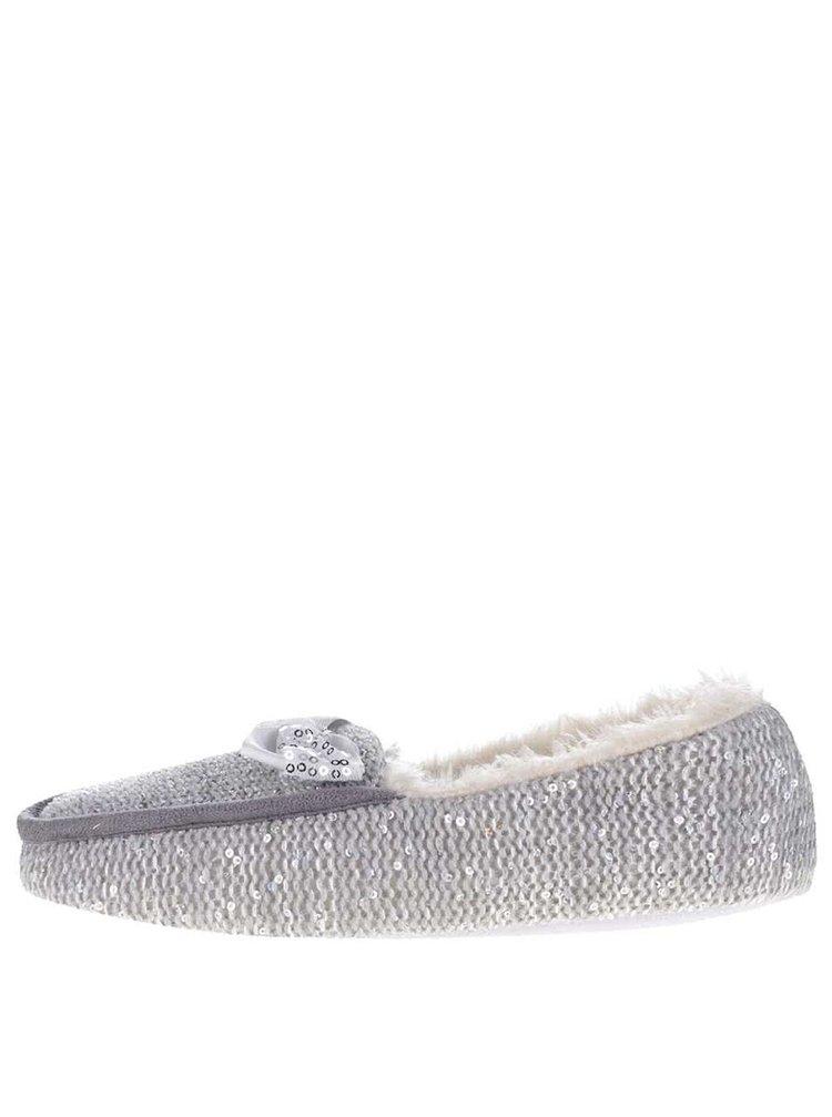 Šedé dámské papuče s flitry Something Special