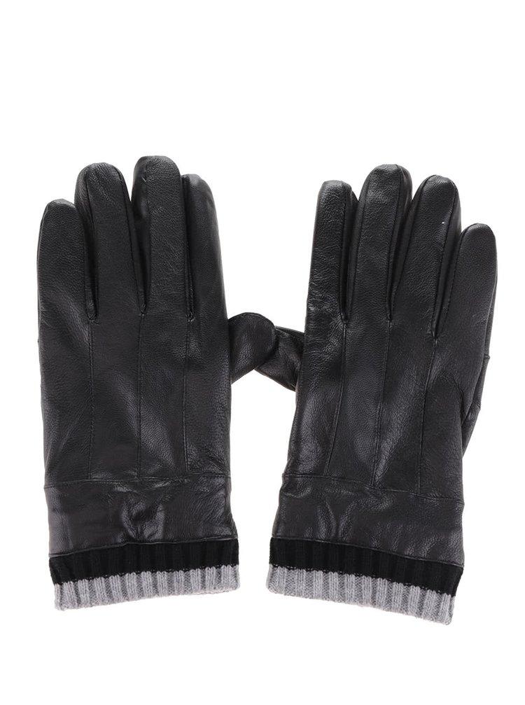 Černé pánské kožené rukavice s úpletem v dárkové krabičce Portland