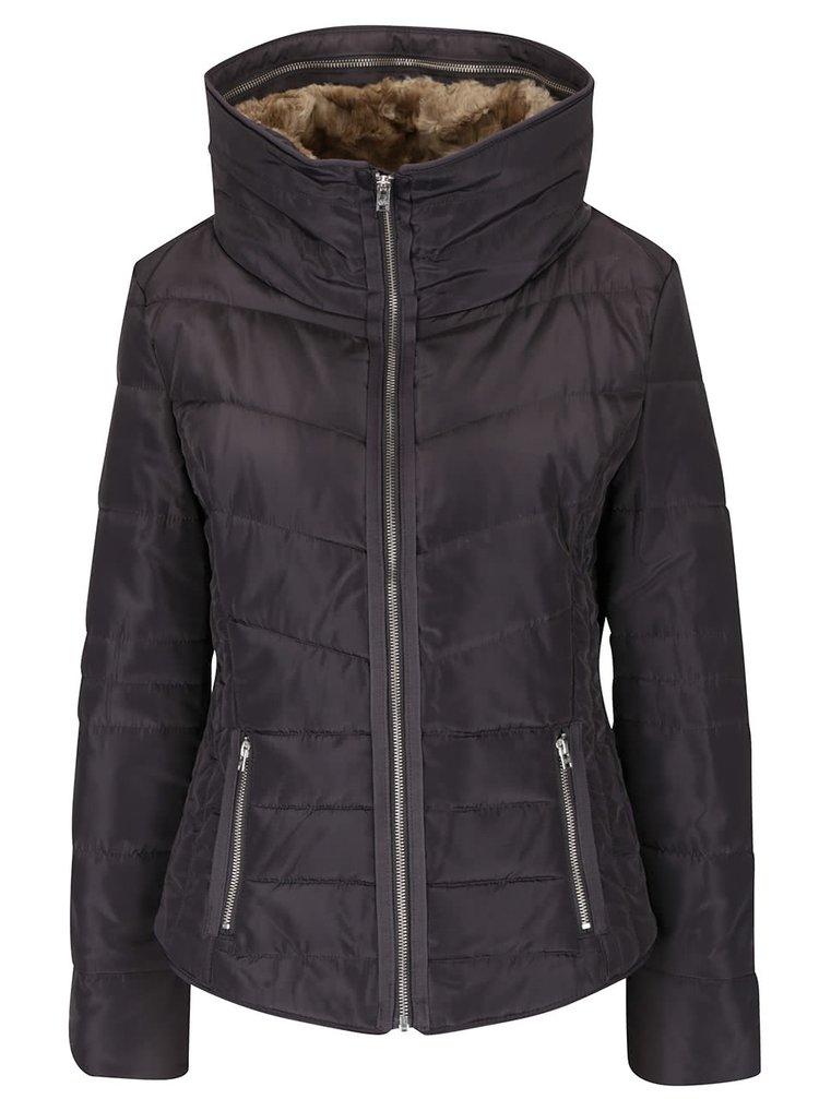 Šedá dámská prošívaná bunda s vysokým límcem s.Oliver