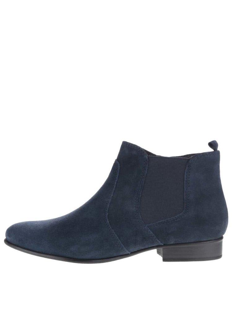 Modré semišové kotníkové chelsea boty Tamaris