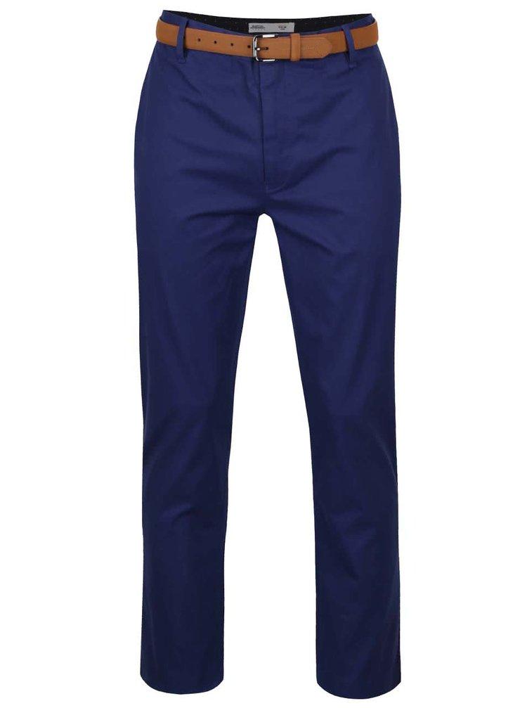 Modré slim chino kalhoty s páskem Burton Menswear London