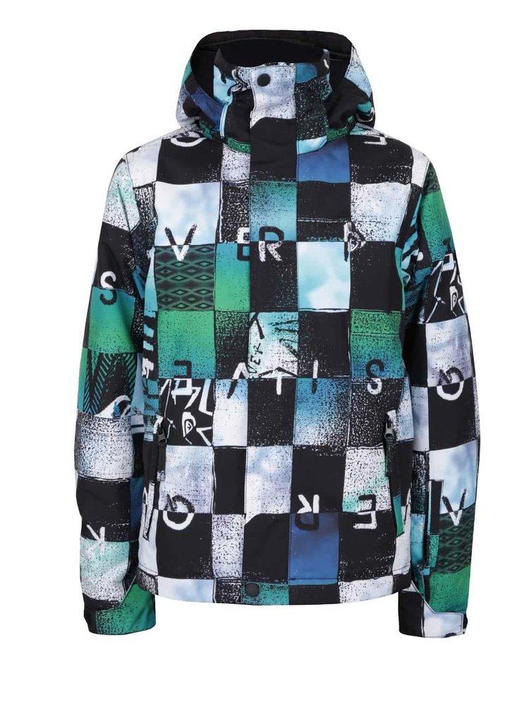 Černo-zelená klučičí kostkovaná zimní bunda Quiksilver