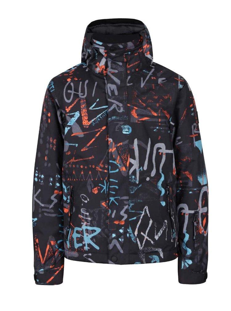 Čierna chlapčenská zimná bunda s farebným vzorom Quiksilver
