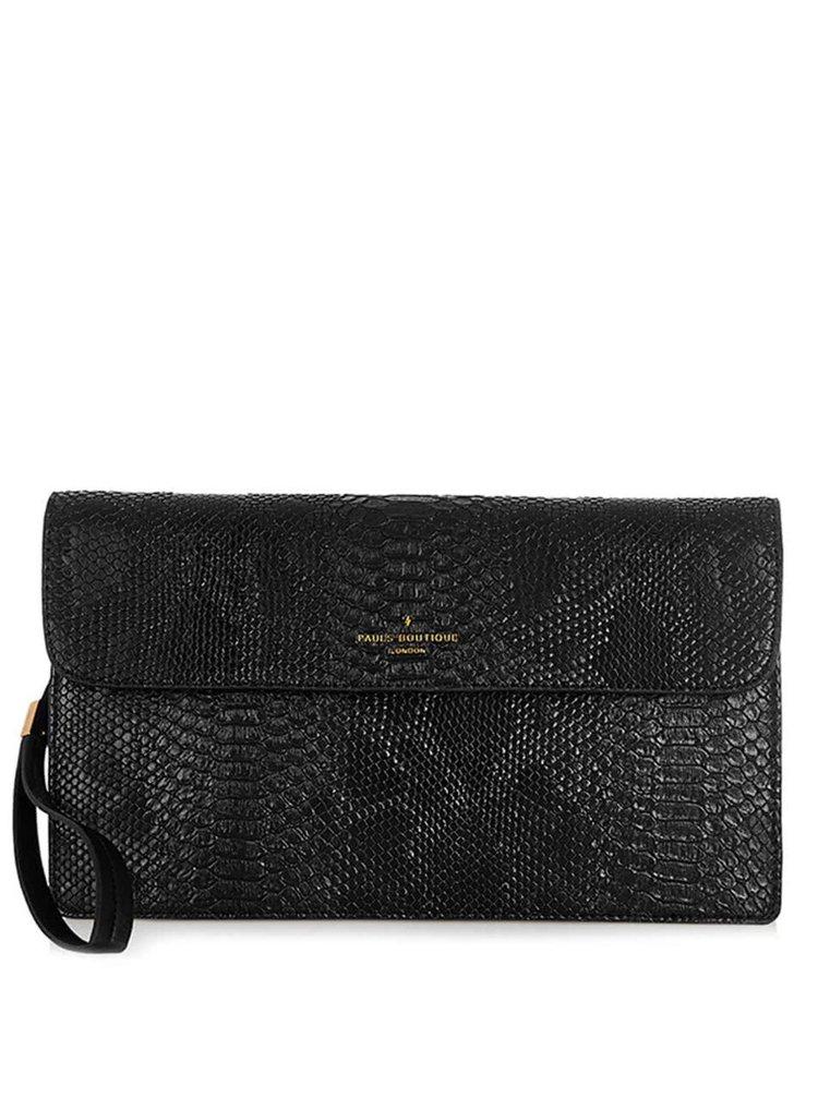 Čierna listová kabelka s hadím vzorom Paul's Boutique Veronica