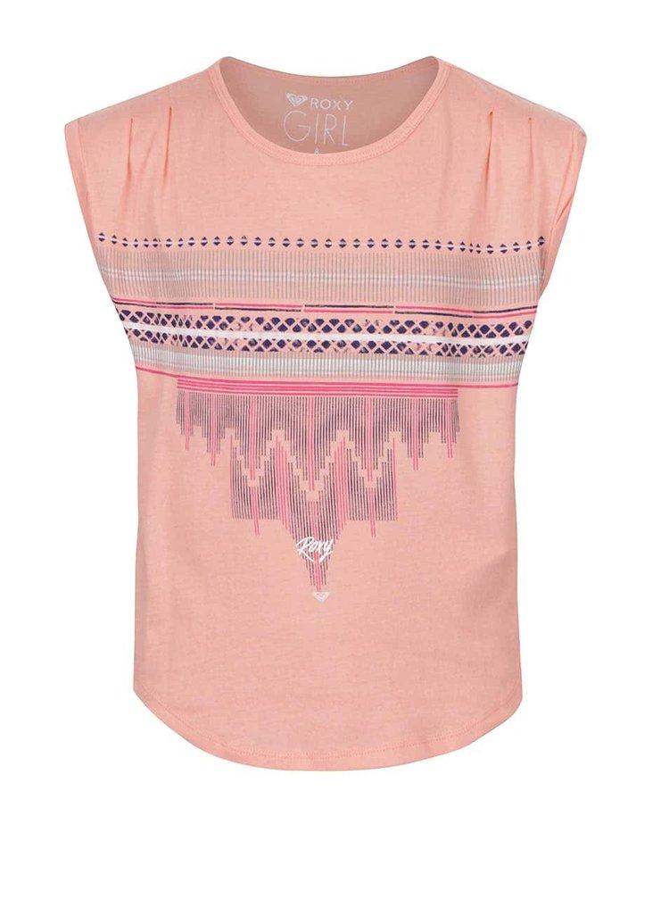 Tricou roz piersică Roxy pentru fete