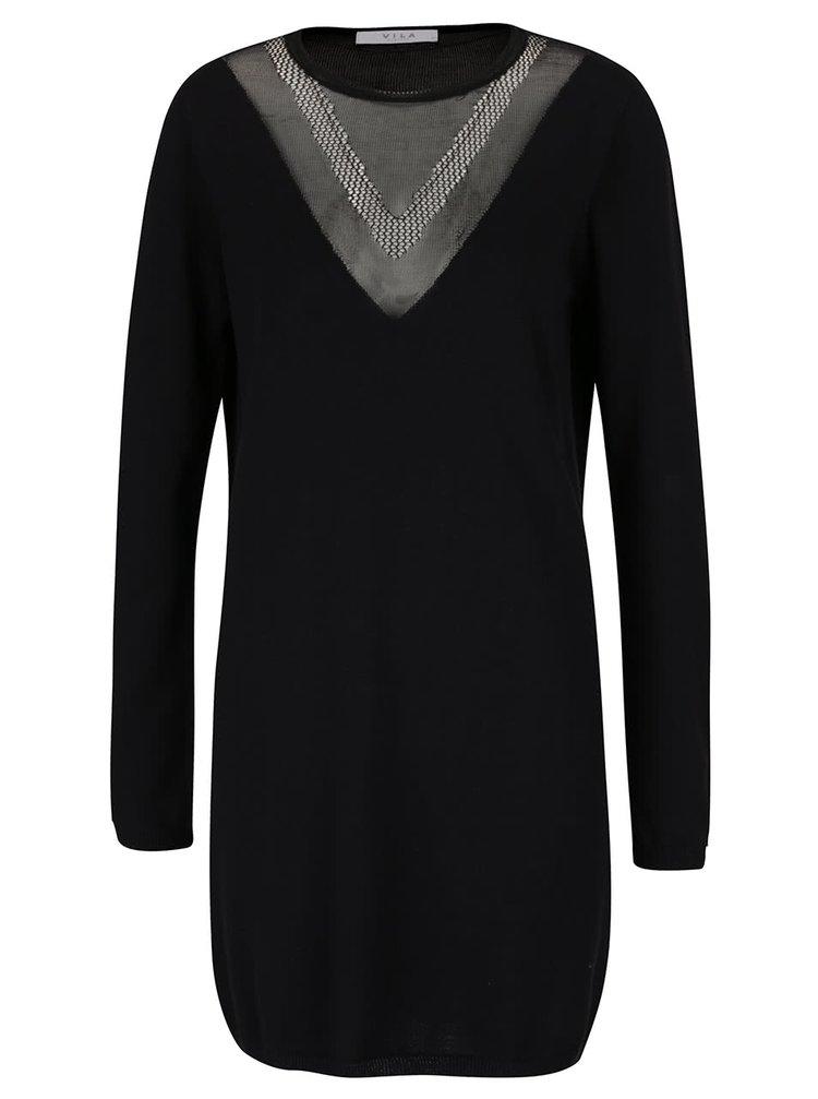 Černé šaty s průsvitnými detaily na zádech a v dekoltu VILA Prude