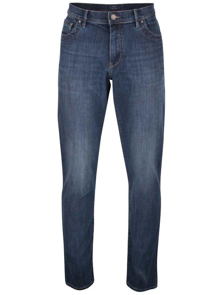 Tmavě modré pánské džíny s vyšisovaným efektem bugatti