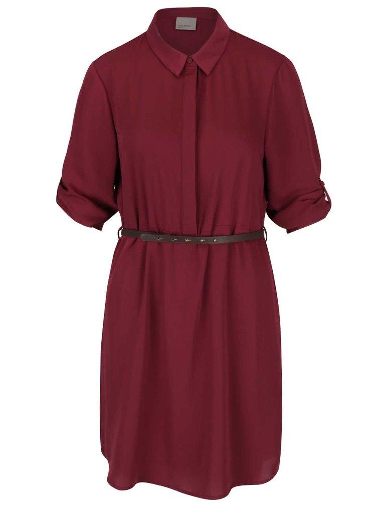 Vínové košilové šaty s páskem VERO MODA Adele