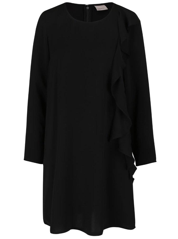 Čierne voľnejšie šaty s volánom VERO MODA Flora