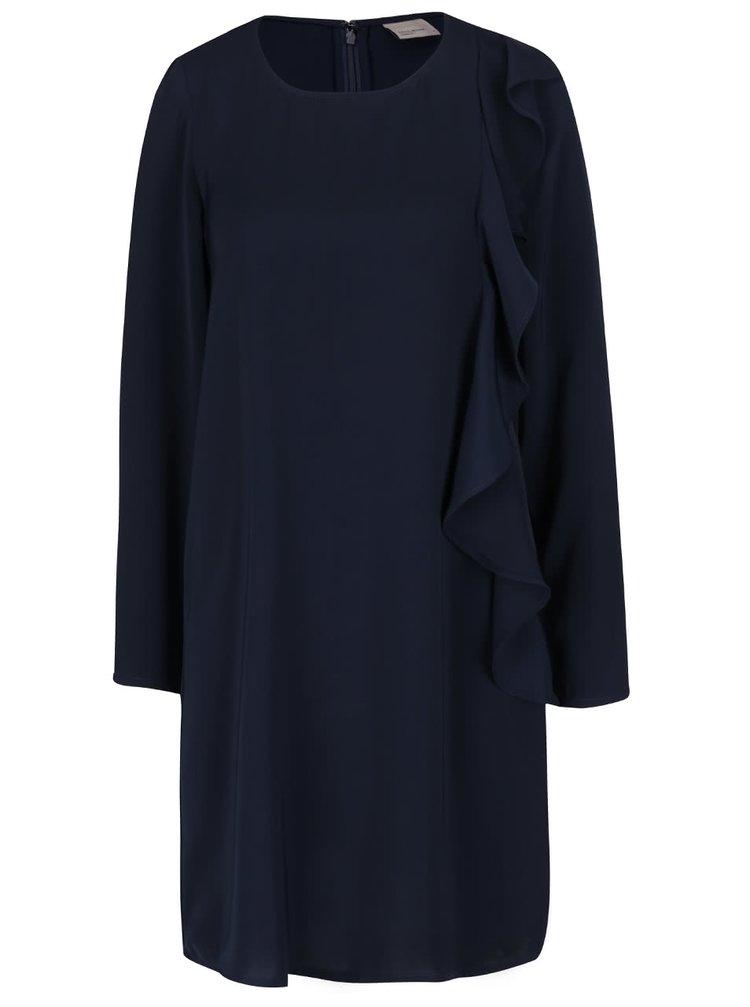 Tmavomodré voľnejšie šaty s volánom VERO MODA Flora