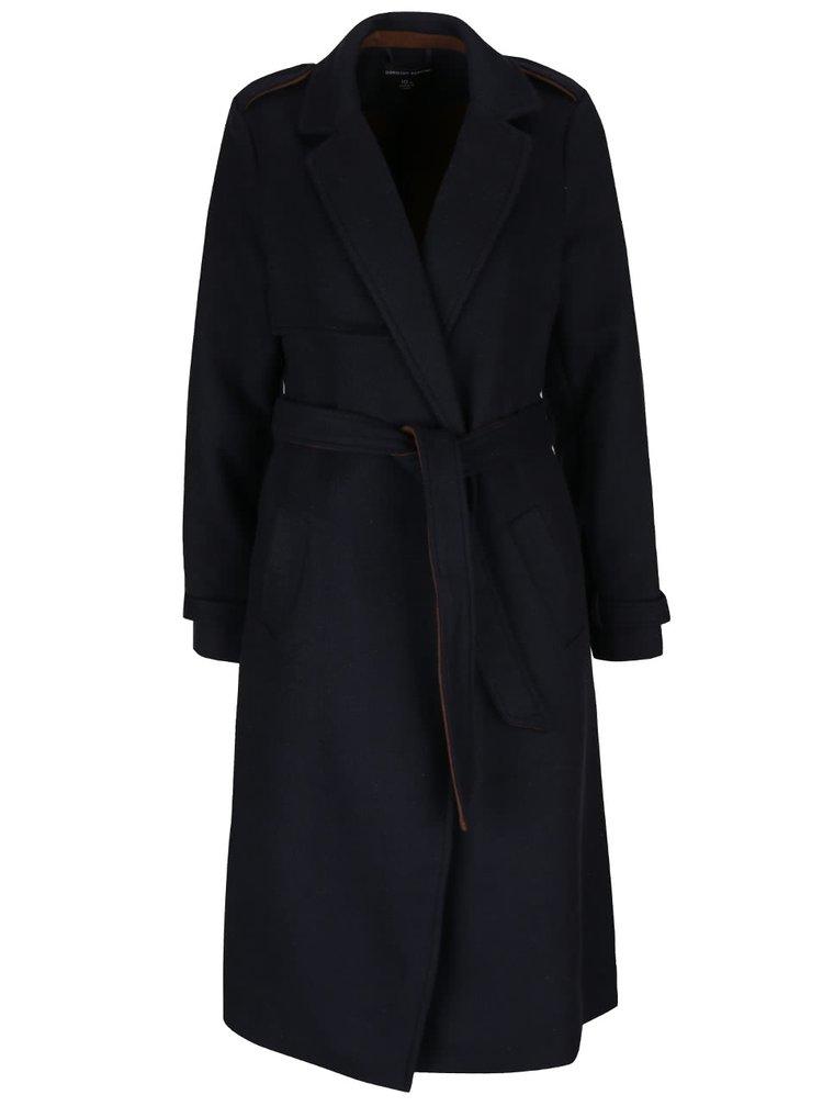 Palton albastru închis cu buzunare și cordon Dorothy Perkins