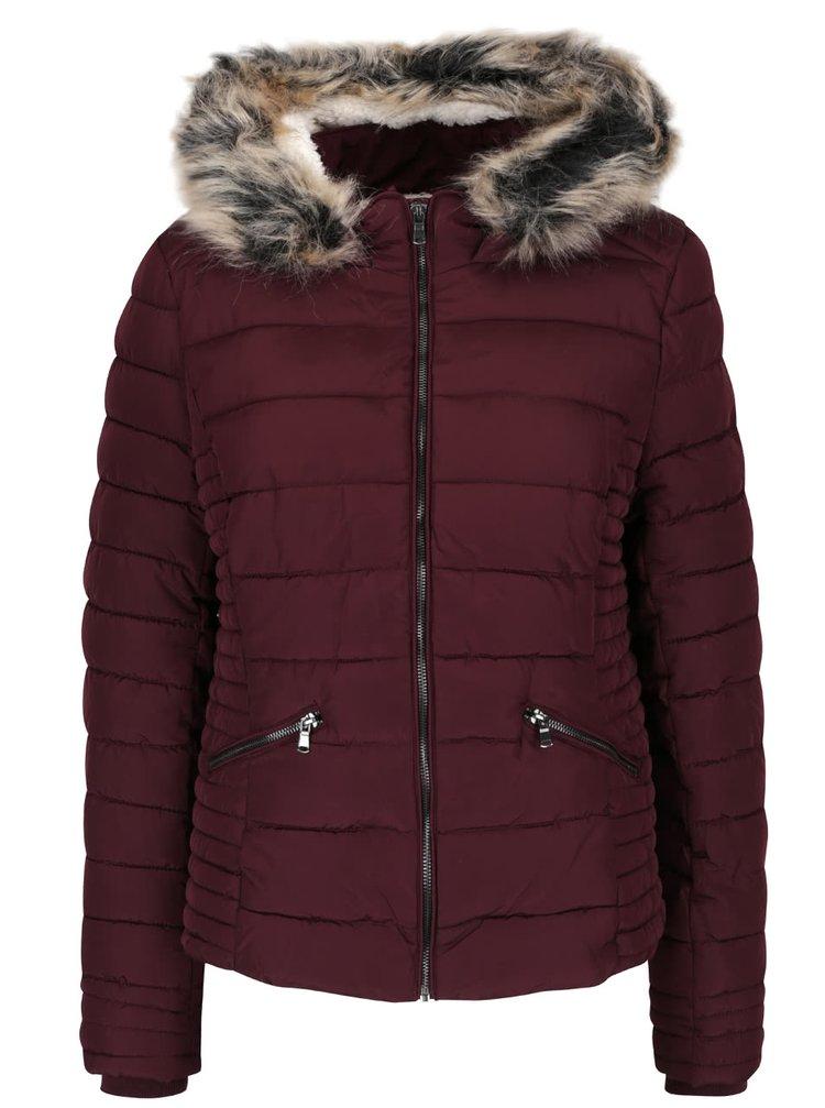 Vínová prošívaná bunda s kapucí a umělým kožíškem TALLY WEIJL