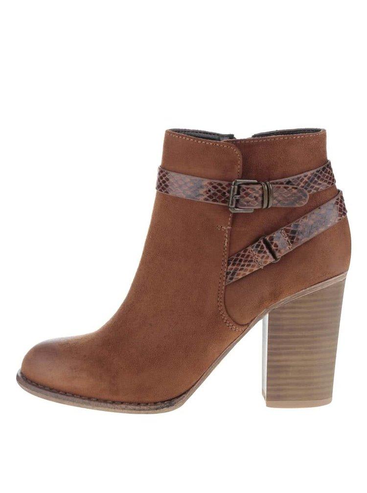 Hnědé kotníkové boty v semišové úpravě na podpatku Dorothy Perkins