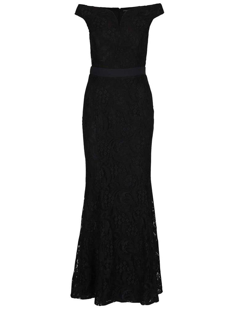 Černé krajkované maxišaty s tvarovaným výstřihem Little Mistress