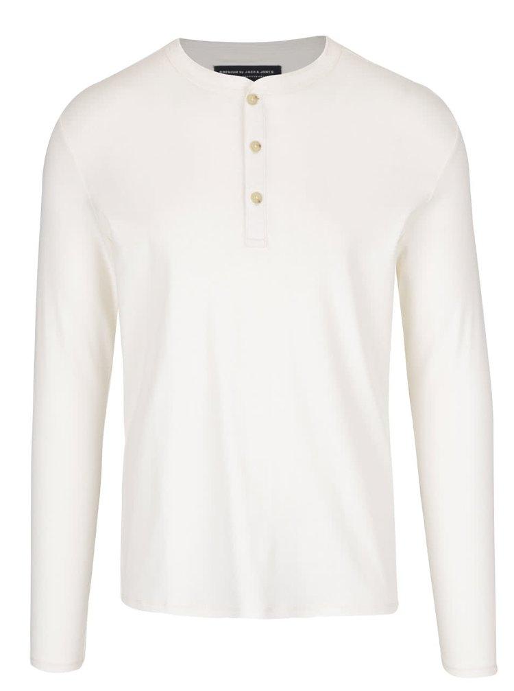 Krémové triko s knoflíky a dlouhým rukávem Jack & Jones Henley