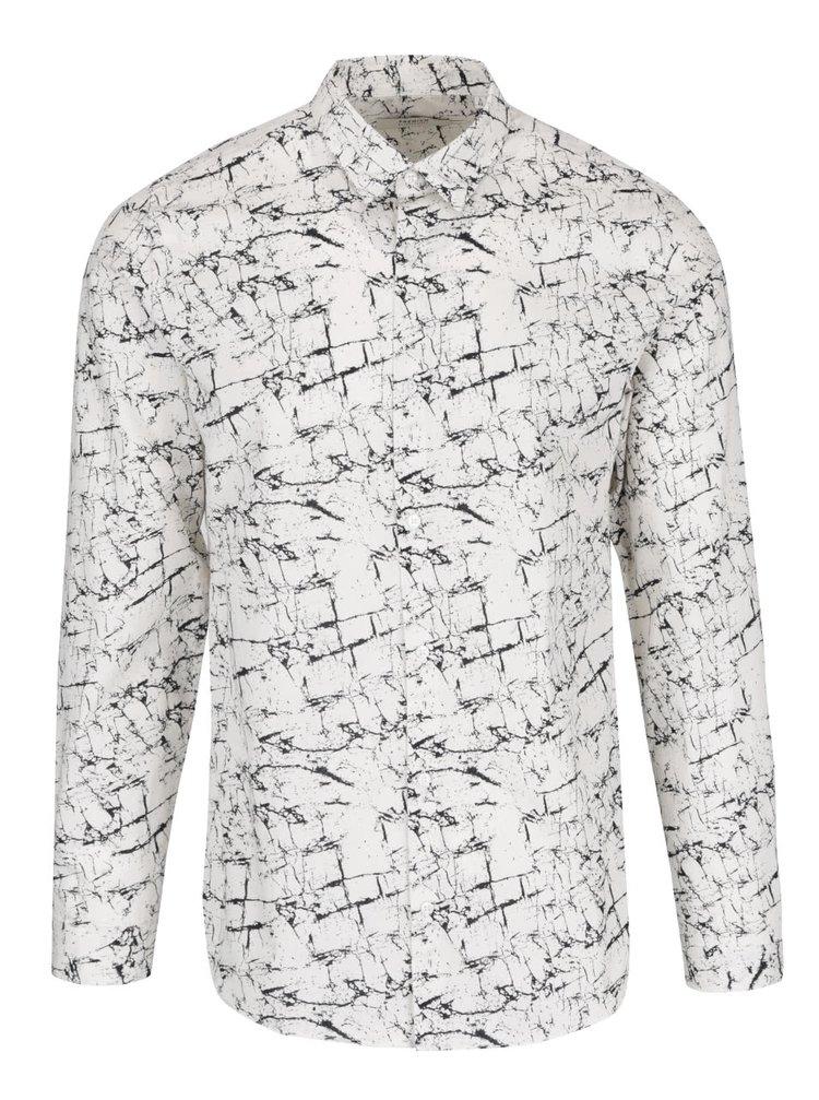 Krémová vzorovaná slim fit košeľa Jack & Jones Marble