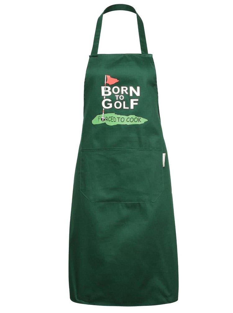 Șorț verde închis Cooksmart Born to Golf din bumbac cu print
