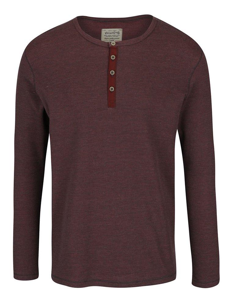 Vínové žíhané triko s dlouhým rukávem Jack & Jones Giovanni
