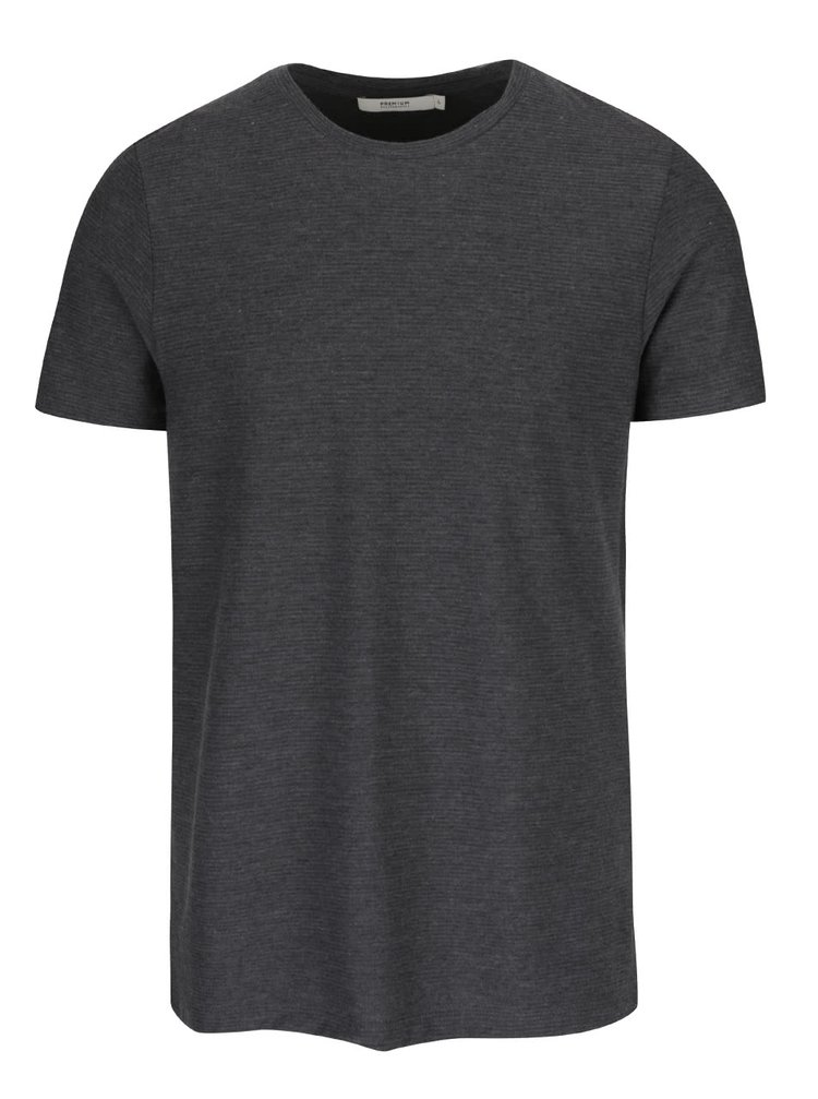 Tmavě šedé žebrované triko Jack & Jones Wellington