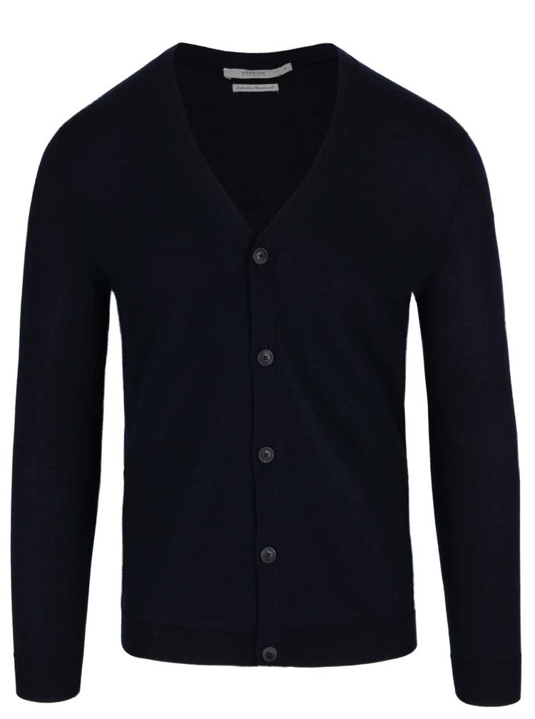 Cardigan bleumarin Jack & Jones Mark din lana