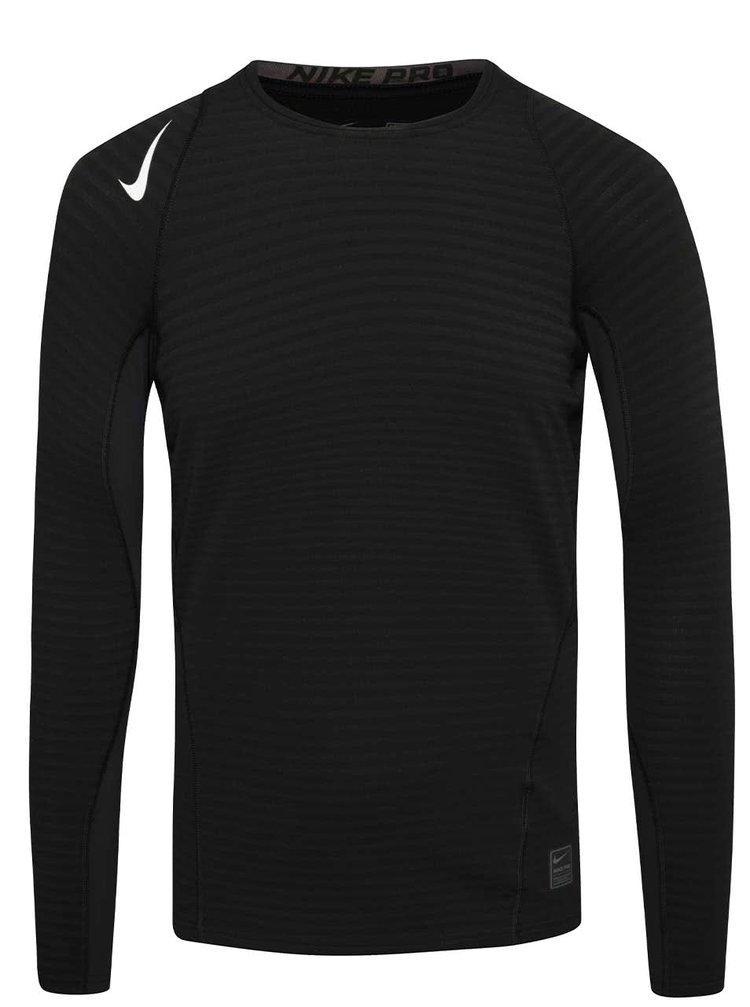 Čierne pánske funkčné tričko s dlhým rukávom Nike Pro