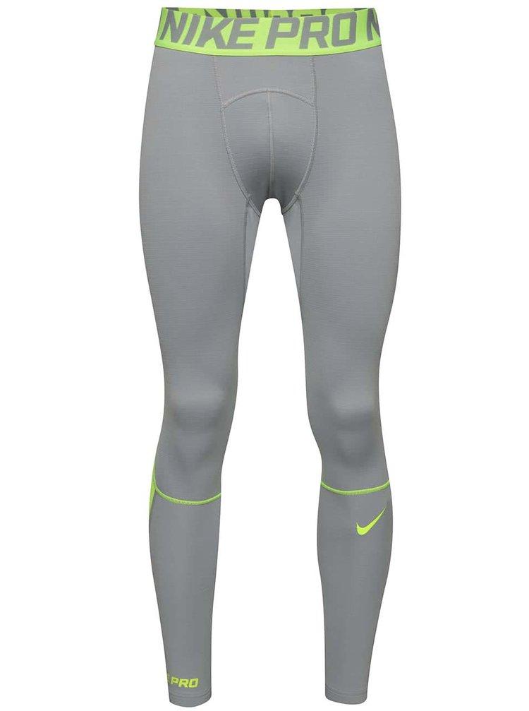 Světle šedé pánské sportovní legíny Nike Pro Hyperwarm