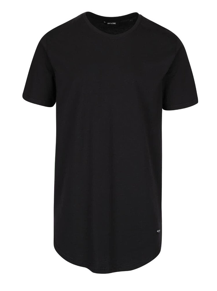 Tricou lung negru ONLY & SONS Super Long din bumbac