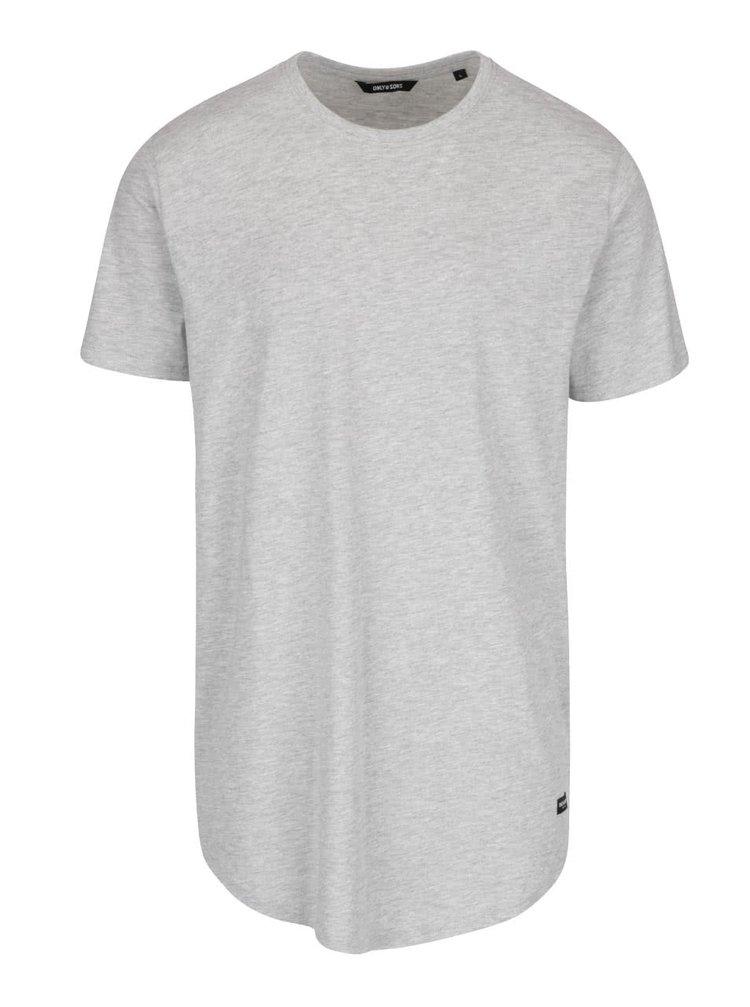 Světle šedé žíhané dlouhé triko ONLY & SONS Super Long
