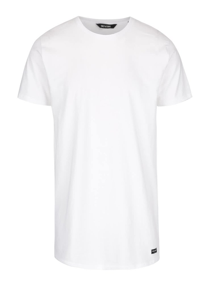 Tricou lung alb ONLY & SONS Long din bumbac