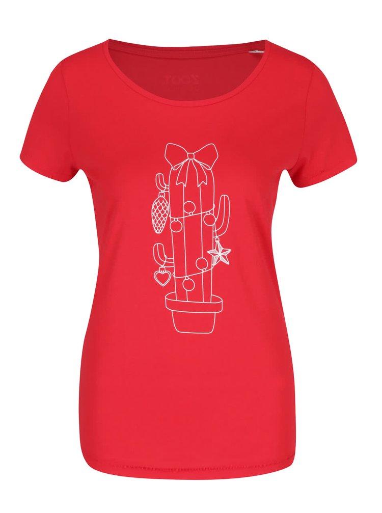 Červené dámské tričko s potiskem ZOOT Originál Vánoční kaktus