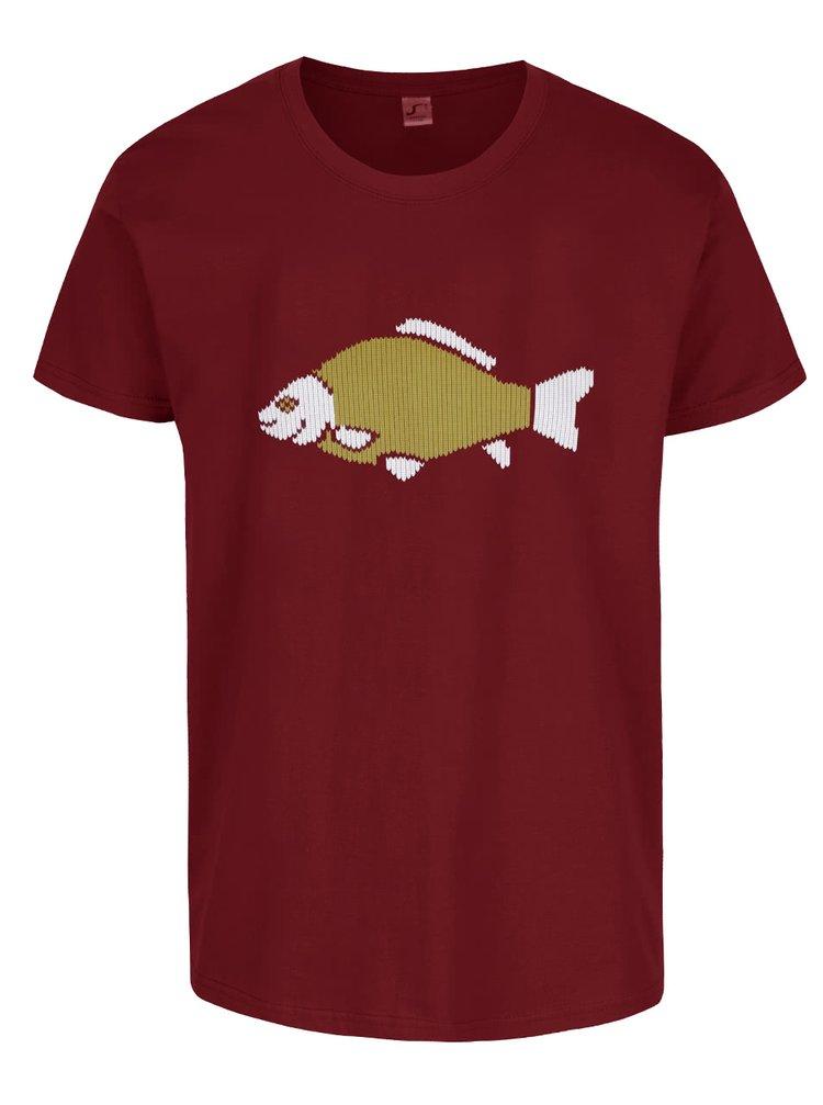 Vínové pánské triko s potiskem ZOOT Originál Vánoční kapr