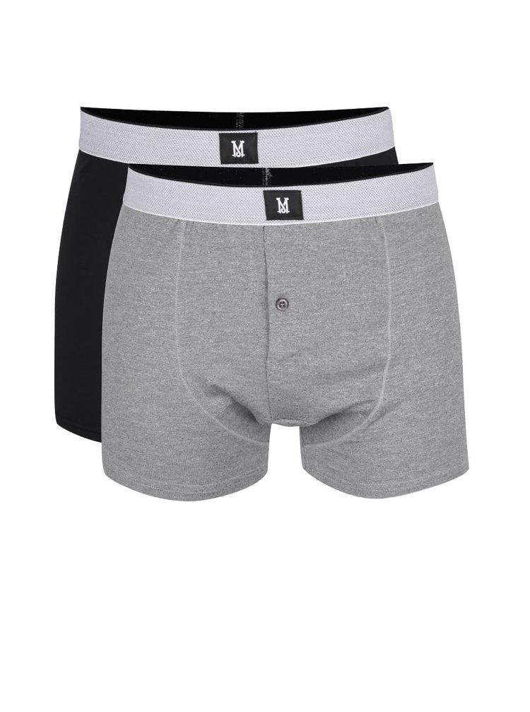 Sada dvou boxerek v černé a šedé barvě Burton Menswear London