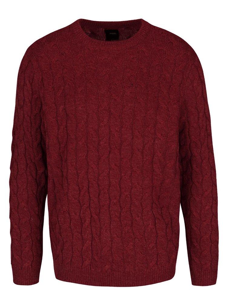 Vínový pletený svetr Burton Menswear London