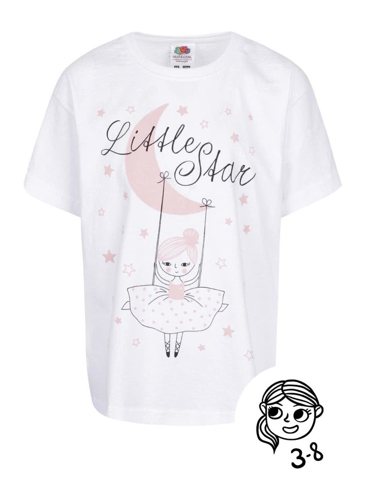 Tricou alb cu imprimeu ZOOT Kids Little star pentru fetite