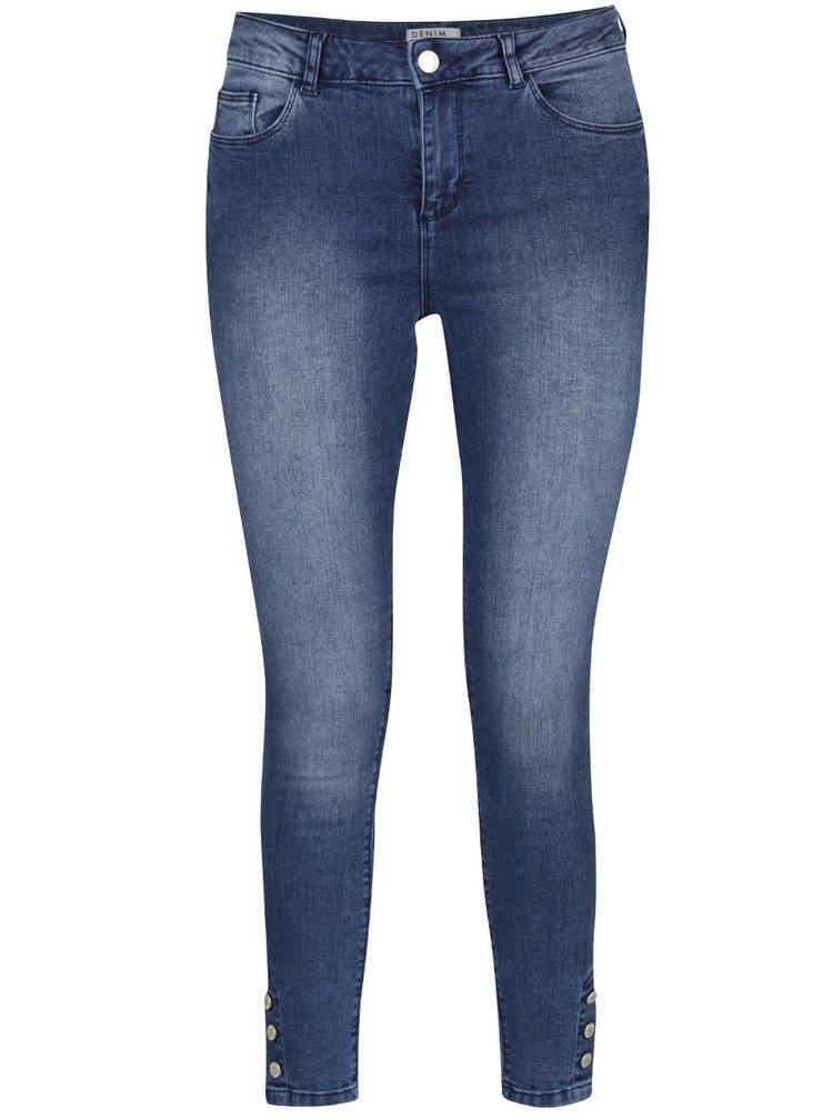 Modré skinny džíny s knoflíky na nohavicích Miss Selfridge