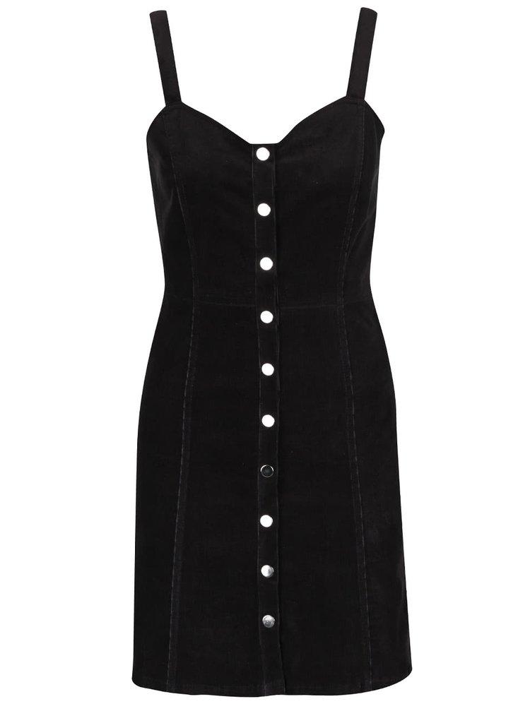 Černé propínací manšestrové šaty Miss Selfridge