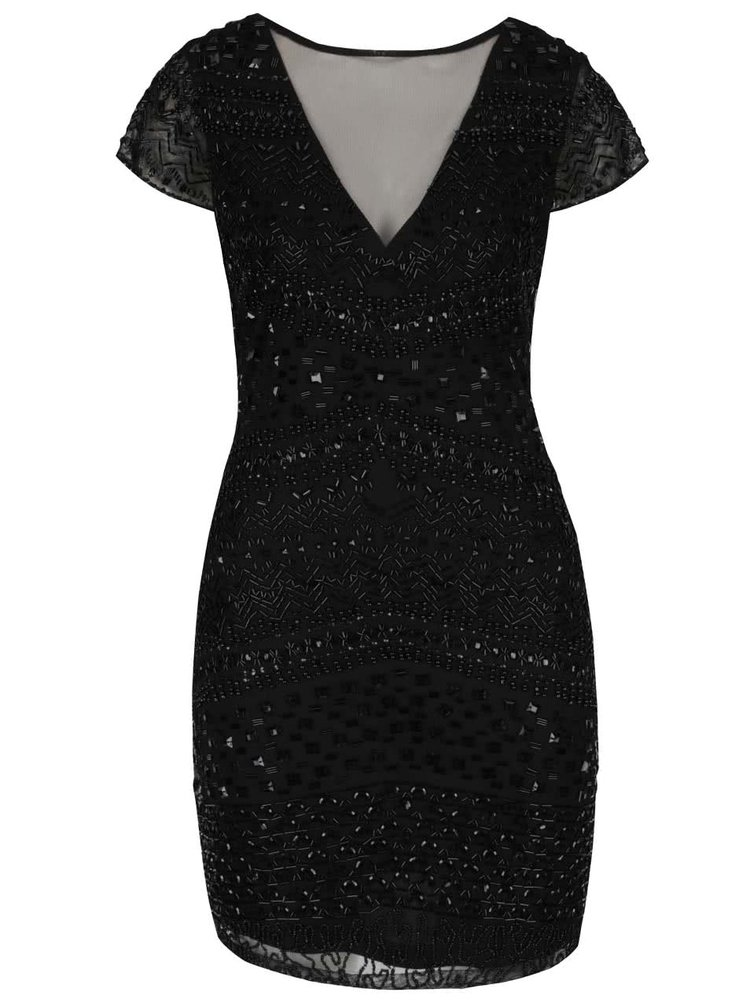 Černé šaty s aplikací a průsvitným dekoltem Miss Selfridge