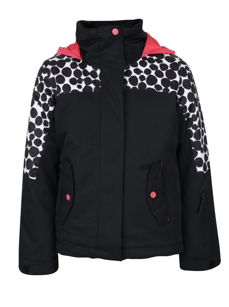 Čierna dievčenská zimná bunda s bodkami na ramenách Roxy