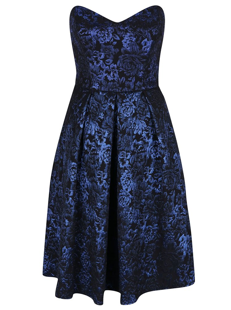 Modro-černé šaty s květinami Miss Selfridge