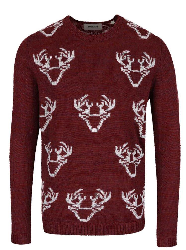 Vínový žíhaný svetr s motivem sobů ONLY & SONS Santa